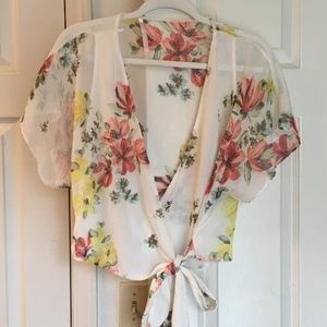 Zara Trafaluc collection floral print blouse